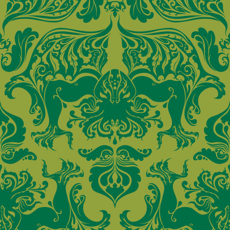 I Love Craft (Cthulhu Damask) fabric by rosalarian on Spoonflower - custom fabric