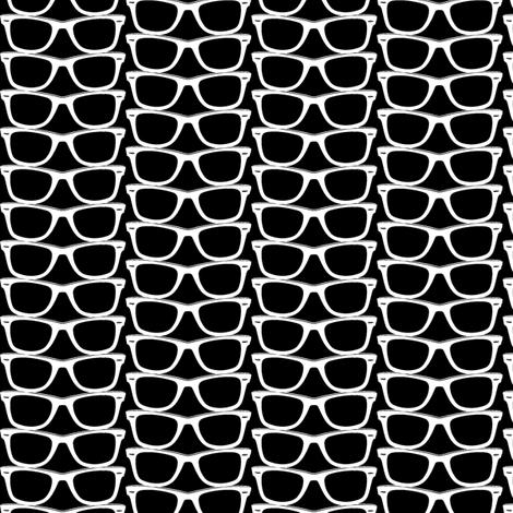 Risky Business (Black Mini) || nerd geek chic glasses sunglasses retro 80s fashion fabric by pennycandy on Spoonflower - custom fabric
