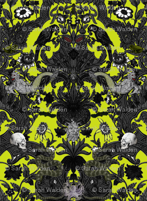 This Is Halloween! Haunted House Damask ~ Poison Chartreuse