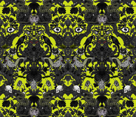 This Is Halloween! Haunted House Damask ~ Poison Chartreuse fabric by peacoquettedesigns on Spoonflower - custom fabric