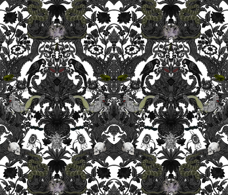 This Is Halloween! Haunted House Damask ~ Ghostly White fabric by peacoquettedesigns on Spoonflower - custom fabric