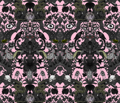 This Is Halloween! Haunted House Damask ~ Pale Pink fabric by peacoquettedesigns on Spoonflower - custom fabric