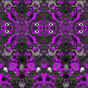 This Is Halloween! Haunted House Damask ~ Lurid Purple