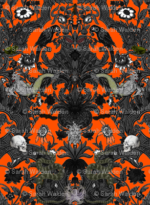 This Is Halloween! Haunted House Damask ~ Orange and Black