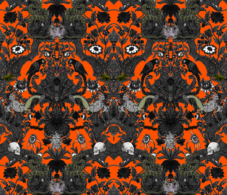This Is Halloween! Haunted House Damask ~ Orange and Black fabric by peacoquettedesigns on Spoonflower - custom fabric