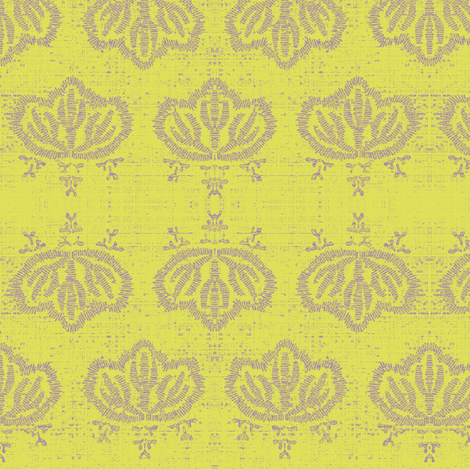 Kiri - lemon & beige fabric by materialsgirl on Spoonflower - custom fabric
