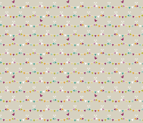 Party Animals Collection - Bunting (Dark) fabric by ttoz on Spoonflower - custom fabric