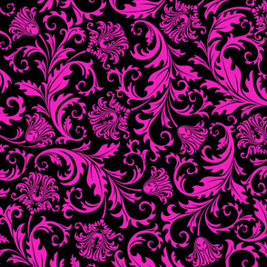 Pink And Black Vintage Floral Damasks