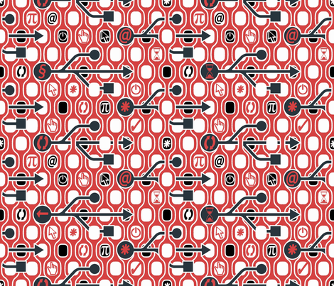 Geek Chic Spirit Red fabric by chicca_besso on Spoonflower - custom fabric