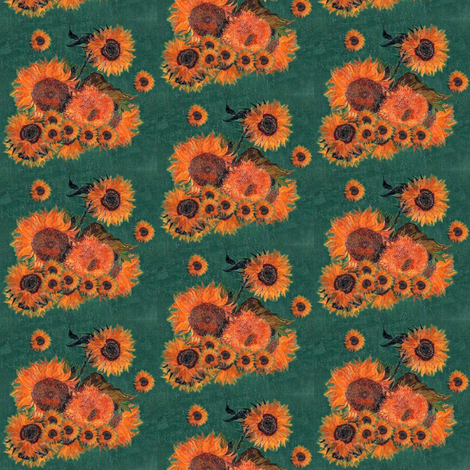 Van Gogh's Sunflowers on Green fabric by bohobear on Spoonflower - custom fabric