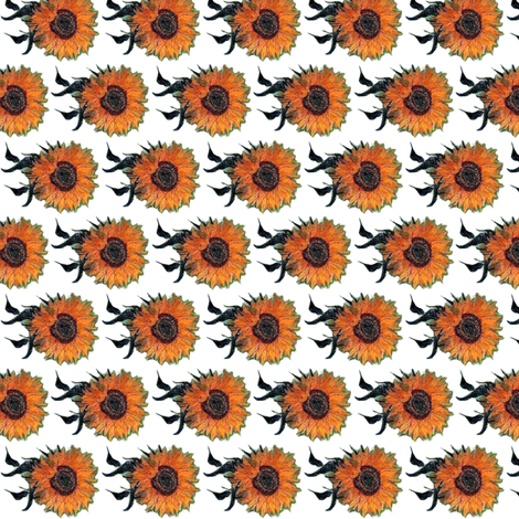 Van Gogh's Sunflowers on White, resizable upon request. fabric by bohobear on Spoonflower - custom fabric