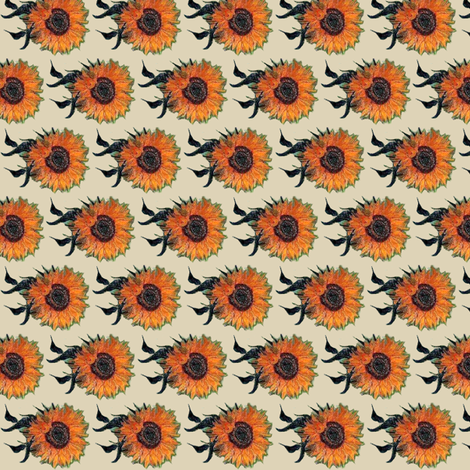 Van Gogh's Sunflowers Cappuccino fabric by bohobear on Spoonflower - custom fabric