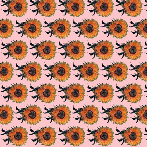 Van Gogh's Sunflowers on Light Baby Pink fabric by bohobear on Spoonflower - custom fabric