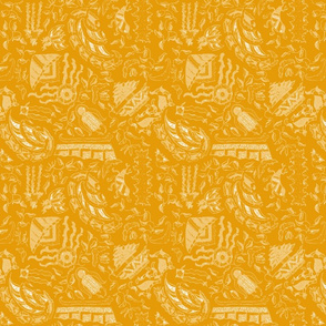 Vintage Tiki Motif in Gold