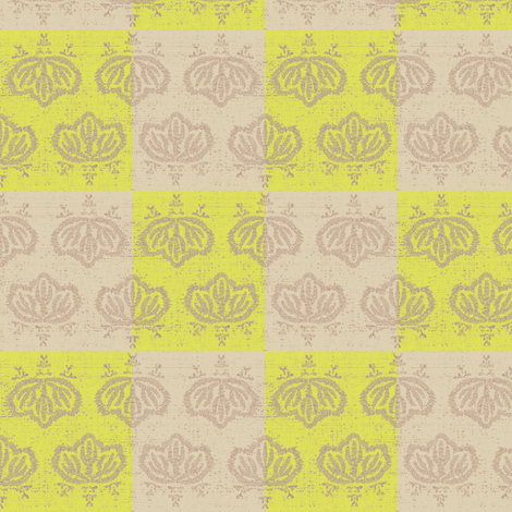 Matsu Check - lemon & beige fabric by materialsgirl on Spoonflower - custom fabric