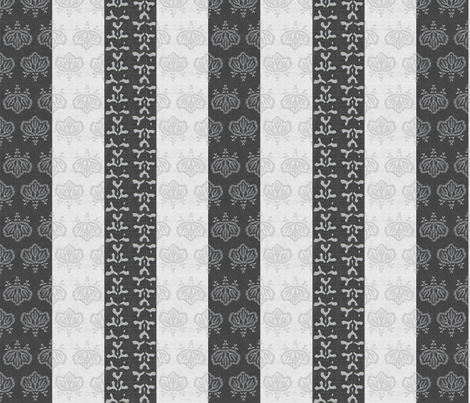 Kiri triple stripe - charcoal, ash, white fabric by materialsgirl on Spoonflower - custom fabric