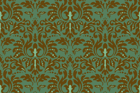 Dark_Aqua_Choco_Damask fabric by kelly_a on Spoonflower - custom fabric