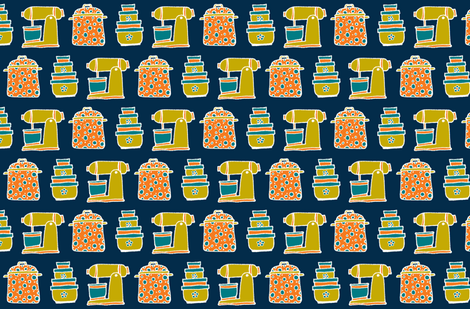 kitchen basics wallpaper fabric by susan_swedien on Spoonflower - custom fabric