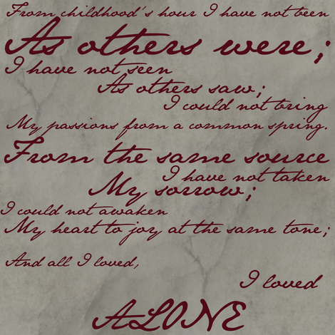 Edgar Allan Poe ~ Alone ~ Poem in Blood Red on Parchment fabric by peacoquettedesigns on Spoonflower - custom fabric
