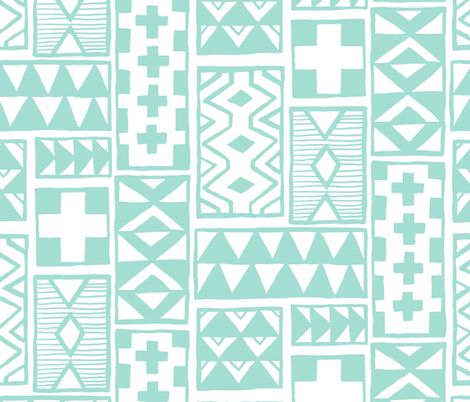 Geoblocks (Mint) fabric by leanne on Spoonflower - custom fabric