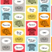 Hotline, Hotline || telephone phone retro words phrases speech bubbles