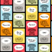 Hotline, Hotline (Black) || telephone phone retro words phrases speech bubbles