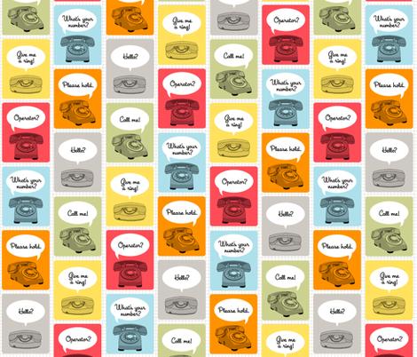 Hotline, Hotline (Grid) fabric by pennycandy on Spoonflower - custom fabric