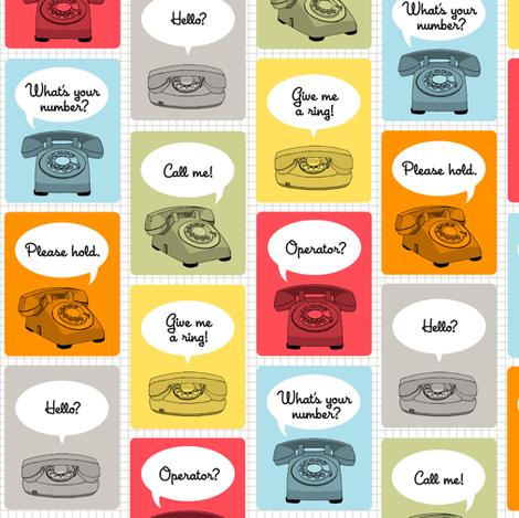 Hotline, Hotline (Grid) || telephone phone retro words phrases speech bubbles fabric by pennycandy on Spoonflower - custom fabric