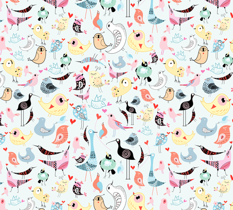 lovers birdies fabric by tanor on Spoonflower - custom fabric
