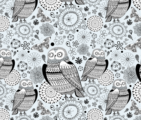 graphic owl fabric by tanor on Spoonflower - custom fabric