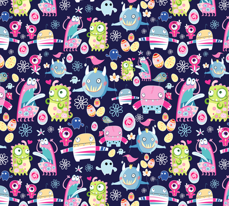 funny monsters fabric by tanor on Spoonflower - custom fabric