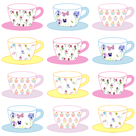 Teacups fabric by de-ann_black on Spoonflower - custom fabric