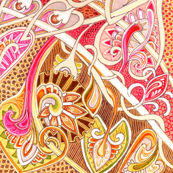 Old Fashioned Twisted Paisley Victorian (in salmon and coco)