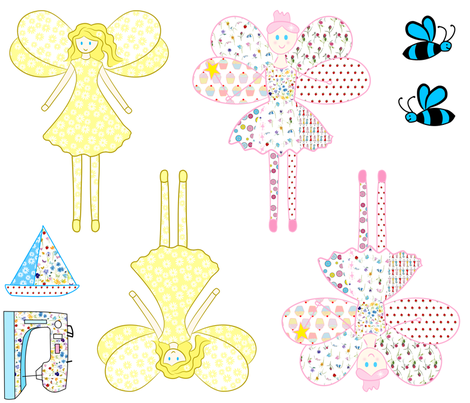 Patchwork Fairy Doll Fabric fabric by de-ann_black on Spoonflower - custom fabric