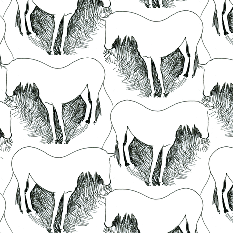 White Horse Pen and Ink fabric by eclectic_house on Spoonflower - custom fabric