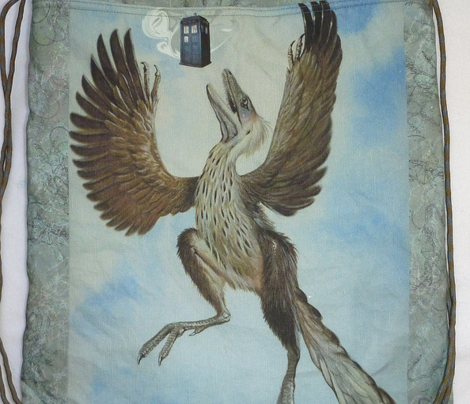 Protoarcheopteryx finds a phone booth backpack