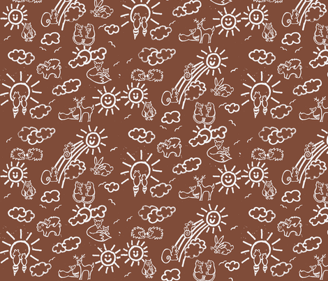 You Are My Sunshine Woodland Animals-in Brown and White fabric by kbexquisites on Spoonflower - custom fabric
