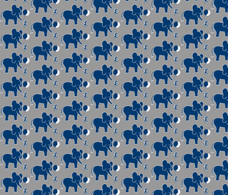 Let's be Friends in Navy Blue and Grey Elephant and Mouse fabric by kbexquisites on Spoonflower - custom fabric