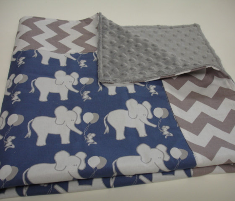 LARGE SCALE Lets Be Friends Navy and Grey Elephant and Mouse