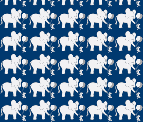 LARGE SCALE Lets Be Friends Navy and Grey Elephant and Mouse fabric by kbexquisites on Spoonflower - custom fabric