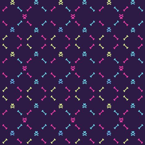 Bones & Heart Skulls - Punky Net - Retro Punky!- Just Like The 60's  - © PinkSodaPop 4ComputerHeaven.com fabric by pinksodapop on Spoonflower - custom fabric