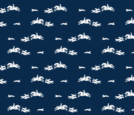 The Chase on navy fabric by ragan on Spoonflower - custom fabric