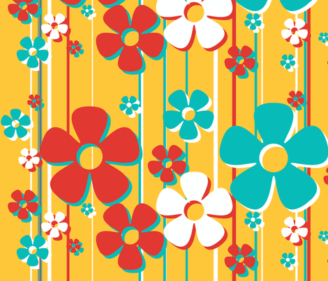 Daisies - caramel fabric by wiccked on Spoonflower - custom fabric