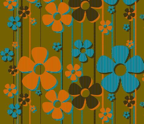 Striped Daisies - at the beach fabric by wiccked on Spoonflower - custom fabric