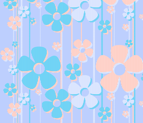 Striped Daisies - cotton candy fabric by wiccked on Spoonflower - custom fabric