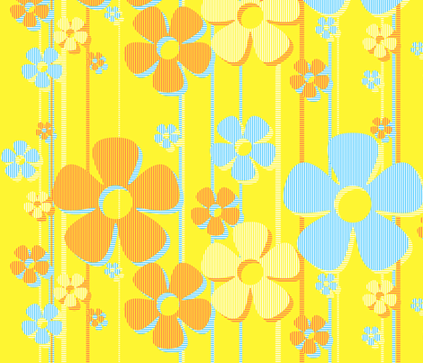 Striped Daisies - Lemon Tart fabric by wiccked on Spoonflower - custom fabric