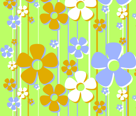 Daisies - key lime fabric by wiccked on Spoonflower - custom fabric