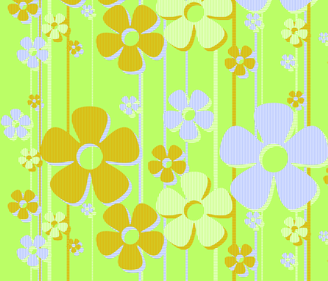Striped Daisies - Key Lime fabric by wiccked on Spoonflower - custom fabric