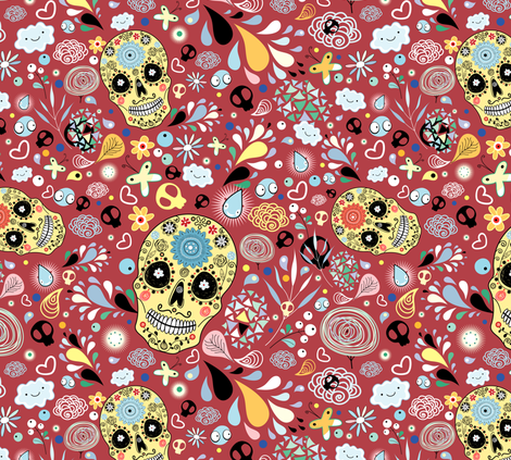 lovely skull fabric by tanor on Spoonflower - custom fabric