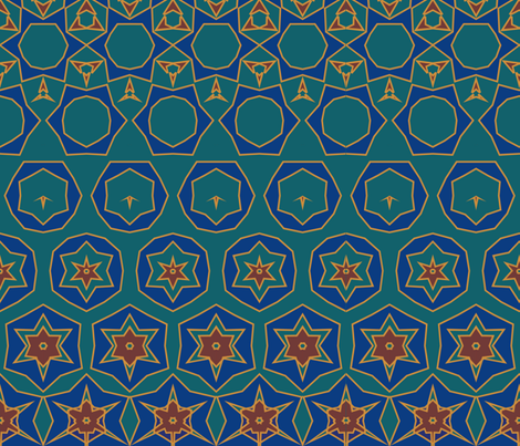 Morphing Tiles Teal fabric by ninapaley on Spoonflower - custom fabric